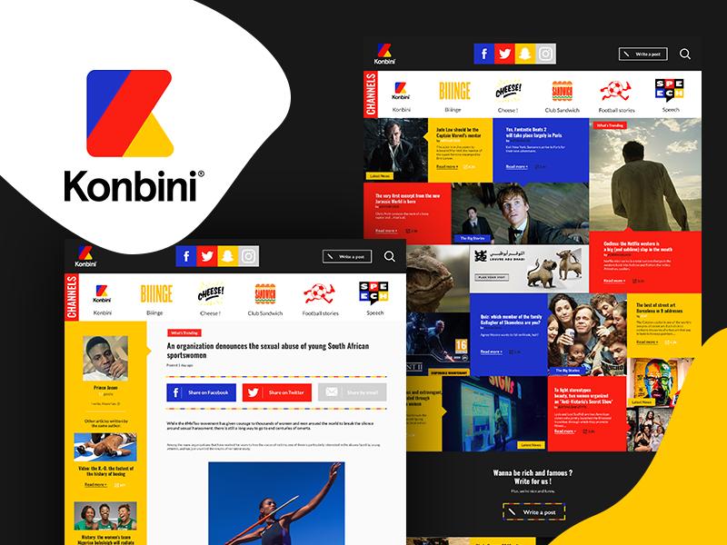 Konbini Redesign article magazine pop dark uidesign ux ui interface website webdesign redesign konbini