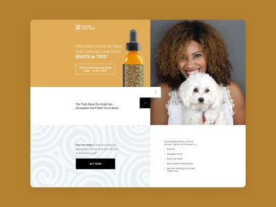 Hair Oil Landing page hair product oil yellow interace ux page landing design web ui