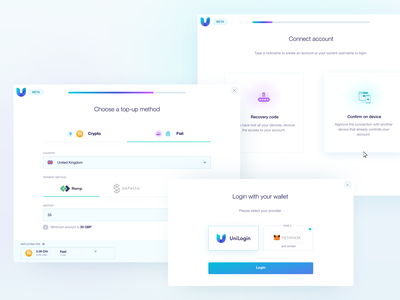UniLogin ethereum top-up safello crypto wallet metamask confirm recovery crypto ramp website application blockchain digital cryptocurrency user experience app ethworks ux ui design