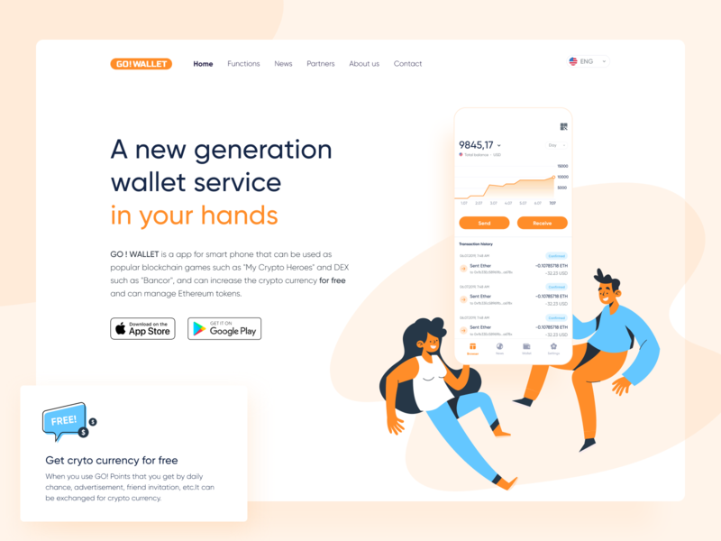 GO ! WALLET website smartphone chart orange illustration service ios ethworks bitcoin blockchaintechnology tokens ethereum cryptocurrency crypto app blockchain wallet