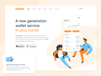 GO ! WALLET website smartphone chart orange illustration service ios ethworks bitcoin blockchaintechnology tokens ethereum cryptocurrency crypto app blockchain wallet
