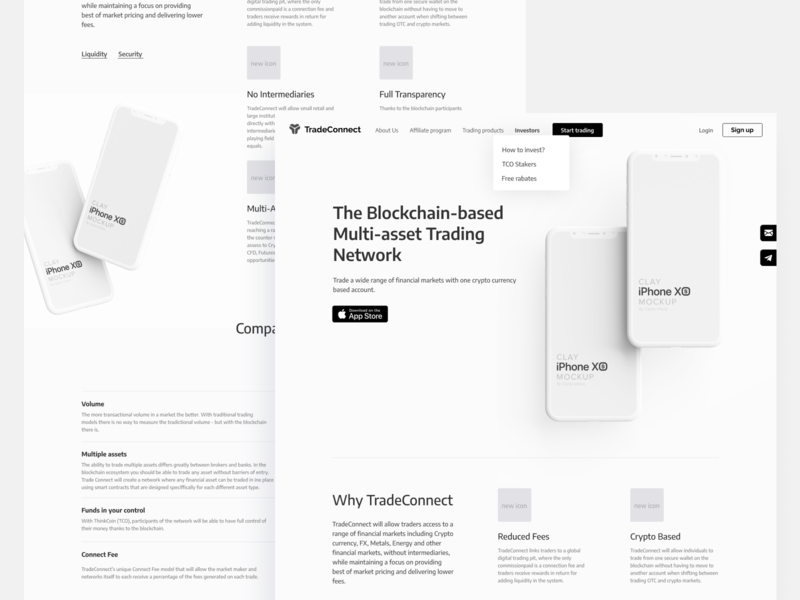 TradeConnect wireframes landing trading bitcoin ethereum ethworks trade crypto tokens cryptocurrency blockchain wireframe design white clay mockup user experience ux wireframes