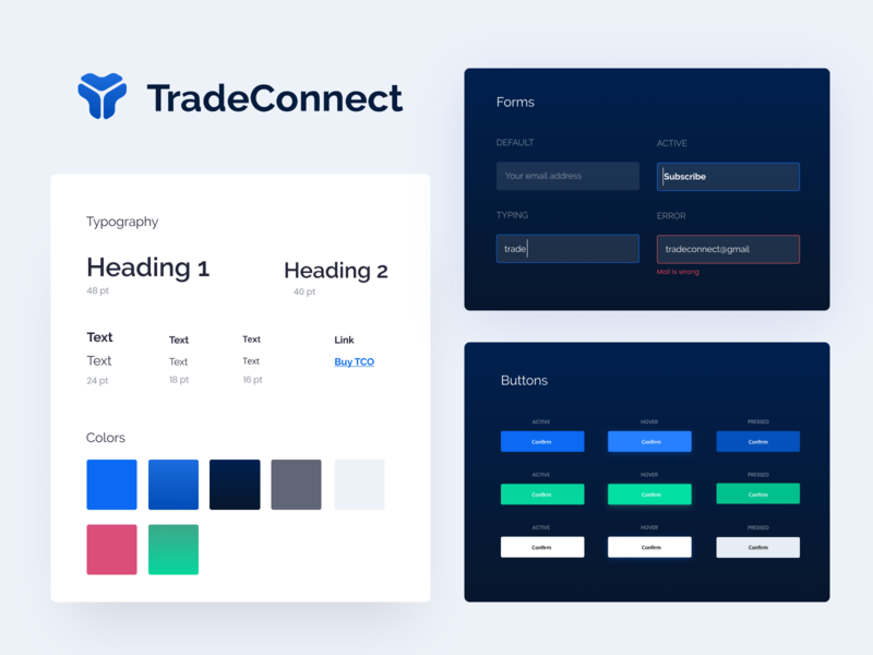 TradeConnect styleguide bitcoin ethereum ethworks trading notification error blockchain hoover active buttons forms colors typography styleguide