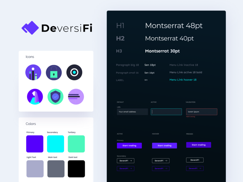 Deversifi style guide cryptocurrency ethworks blockchain neon paragraph heading error pressed active trading buttons states inputs hoover typography colors icons deversifi