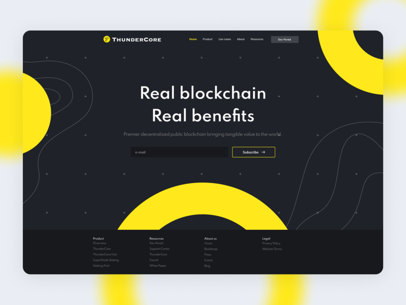 ThunderCore dark yellow subscribe hero area decentralized hero token ethereum crypto cryptocurrency blockchain ethworks