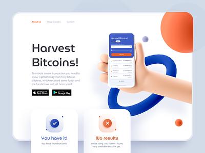 BTC Harvester landing website design ethereum crypto blockchain cryptocurrency ethworks googleplay appstore bitcoin harvest app hands