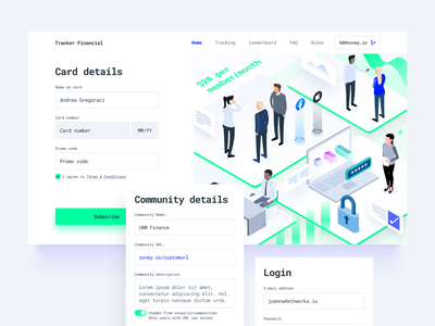 Tracker Financial illustration ethereum entry community ethworks asset blockchain crypto isometric login card