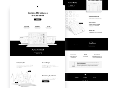 Aurox wireframes user experience crypto blockchain cryptocurrency ethworks ux mockup high-fidelity wireframes