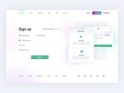 Sign up view data inputs sign in sign up crypto design blockchain cryptocurrency ethworks