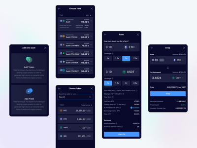 Investment app ux ui app mobile swap token asset yield farm leverage trade crypto design blockchain cryptocurrency ethworks