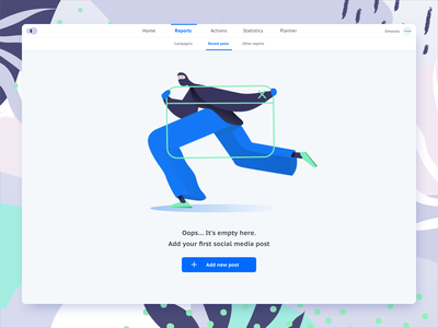 Empty state thief ethworks webapp social media app socialmedia menu empty emptystate robbery robber flat illustrator branding vector flatdesign digitalpainting illustration digital ui design