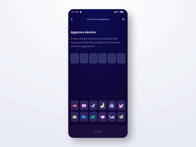 Universal Login approve device darkmode funds password ethereum ethworks universallogin crypto cryptocurrency transfer mobile principle animation devices approve icons ios app ux ui design