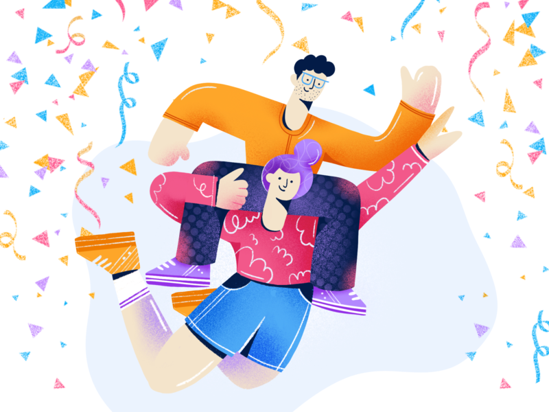 Celebration celebrity celebration creative team party shapes grain cryptocurrency procreate character colorful people confetti birthday celebrate design ethworks illustration
