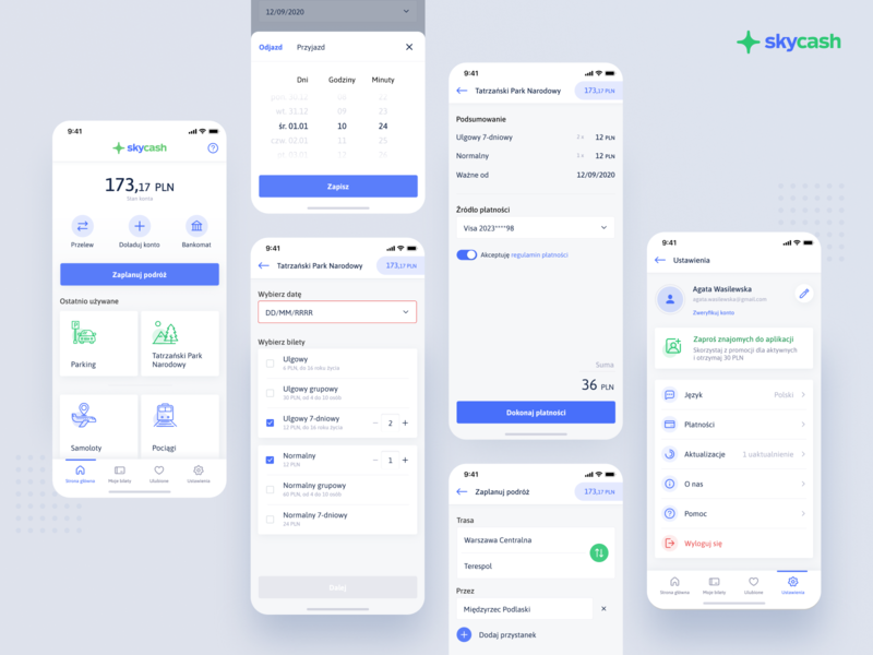 SkyCash app redesign white clay iphone mobile ui ux date profile wallet travel settings ethworks ios app buy ticket money cash sky