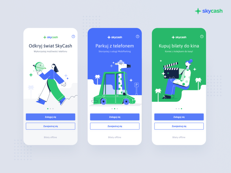 SkyCash redesign illustration parking car travel ticket register login flat illustrator application digital mobile ios app user experience illustration ethworks ux ui design