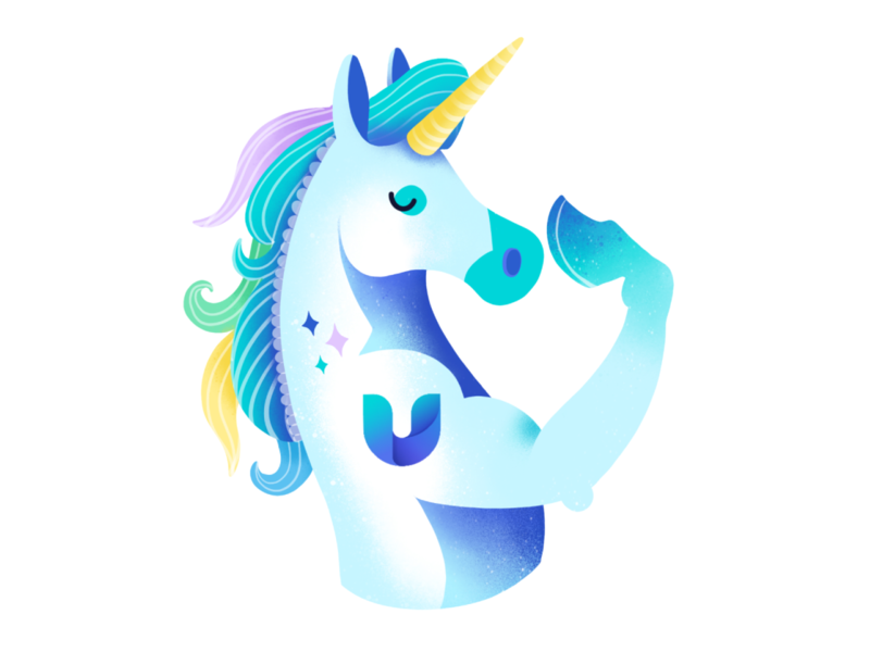 UniLogin unicorn logo pastels horse blockchain unilogin crypto unicorn procreate digital cryptocurrency illustration ethworks design