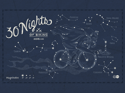 30 Nights of Biking bike illustration constellation stars 30daysofbiking