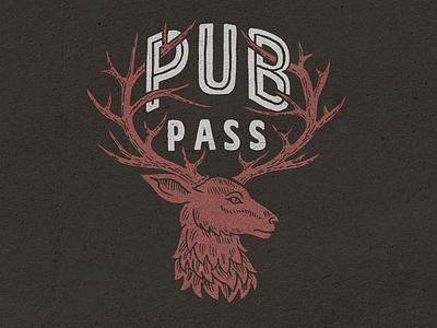 Deer illustration for PubPass deer buck antlers pub pass