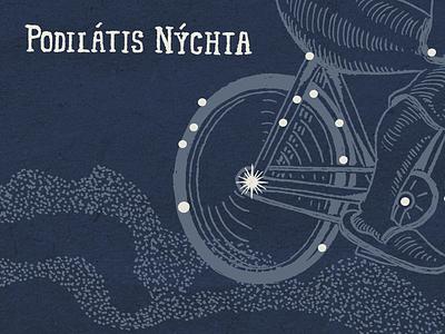 Podilatis Nychta bike illustration constellation stars