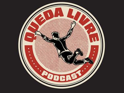 Queda Livre Podcast freefall badge design badge logo drawing podcast branding logo characterdesign illustrator adobeillustrator vector illustration