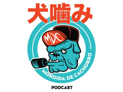 MORDIDA DE CACHORRO PODCAST dogs bite dog dogs mascot podcast logo podcast badge design branding design character design mascot logo illustration logo