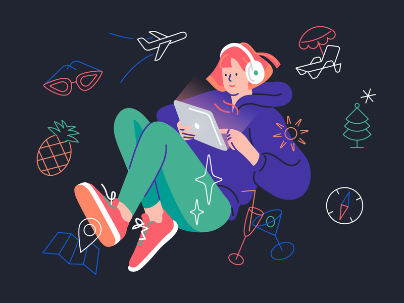 Travel girl choice lines icons travel avionero aviation branding character app vector illustration