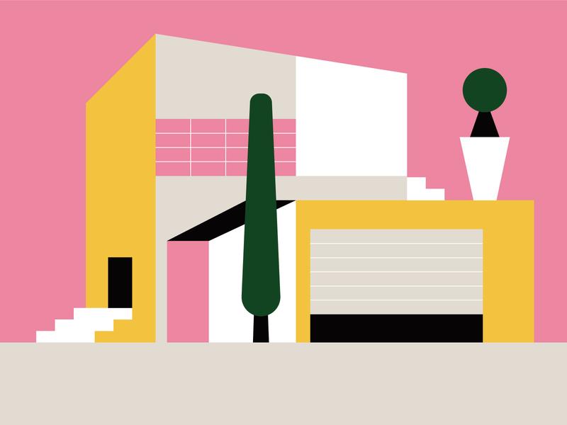 Sunset home geometic flatdesign flat illustration house home illo color design illustration