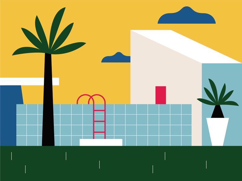 Summer time summer pool home flatdesign flat geometic illo color design illustration