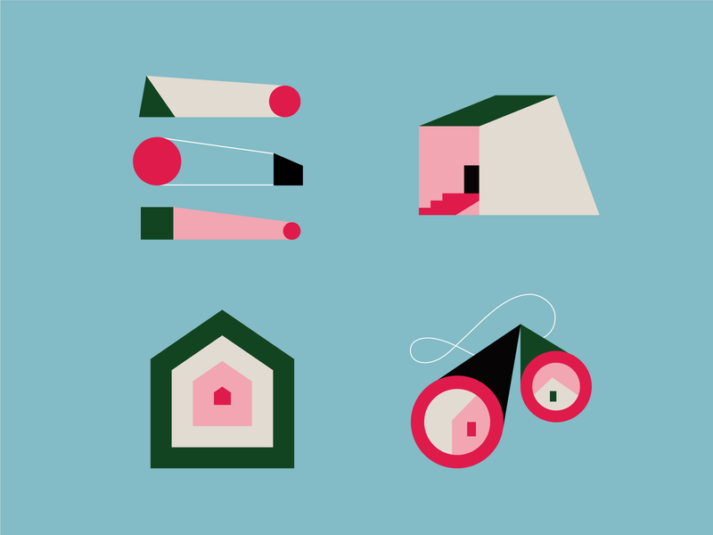 Real estate icons branding house illustraion geometic color icons pack iconset icons design illustration