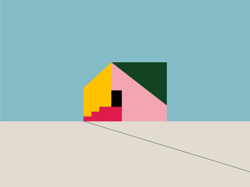 Geometric house flat geometric home house branding color design illustration