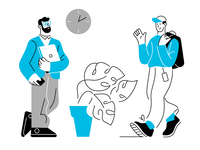 Hello! greetings hello office character design vector illustration characters lineart vector design character illustration