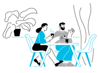 Canteen 🥄 lineart characterdesign design blue girl character vector illustration
