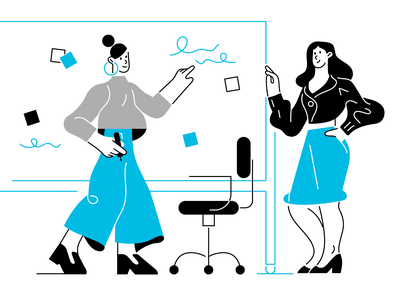 Business ladies woman girls business lady business woman business office lineart line blue branding vector character illustration