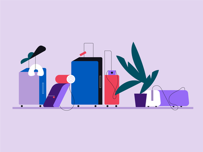 Waiting for a travel plants suitcases travel color vector illustration
