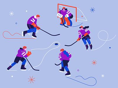 Female hockey sport character design female hockey female hockey design character color illustration