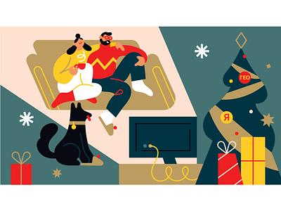 Movie lovers 🎥 movie evening winter design illo color vector illustration