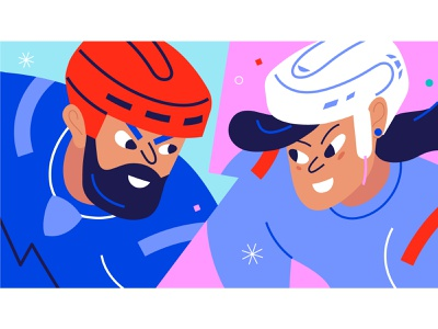 Play hard! characters winter game winter characterdesign female hockey hockey color vector design illustration