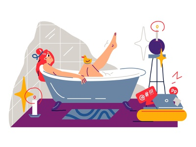 All the world can wait 😌 girl character girl bathtub rest vector character design illustration