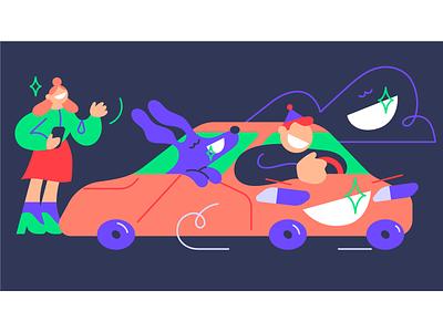 Dentist Day card car dog characterdesign smile dentist vector character design illustration