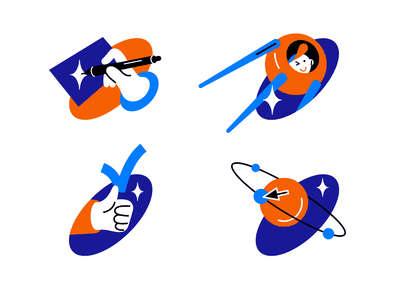 Space icons 🚀 vote acceptance planet space vector blue character design illustration