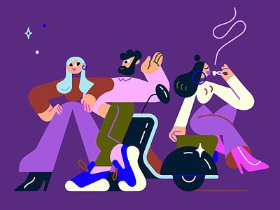 Italian vibe color vectorart characterdesign coffee vespa illo character design illustration