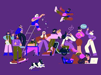 ILLO team 🛵 illotv skateboarding vectorart adobe illustrator ciao team dog characterdesign color illo character design illustration