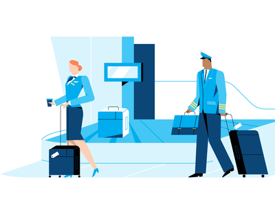 CrewBase ✈️ flat illustration branding characterdesign illo flight crew plane airport aircraft blue anyadraw character vector illustration