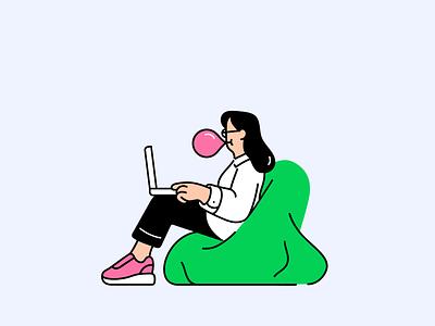 Work in progress bubble gum office vector characterdesign illo character illustration