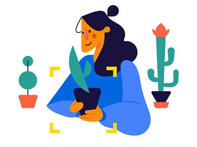plant lover app illustration florist blue plants gardener flowers girl