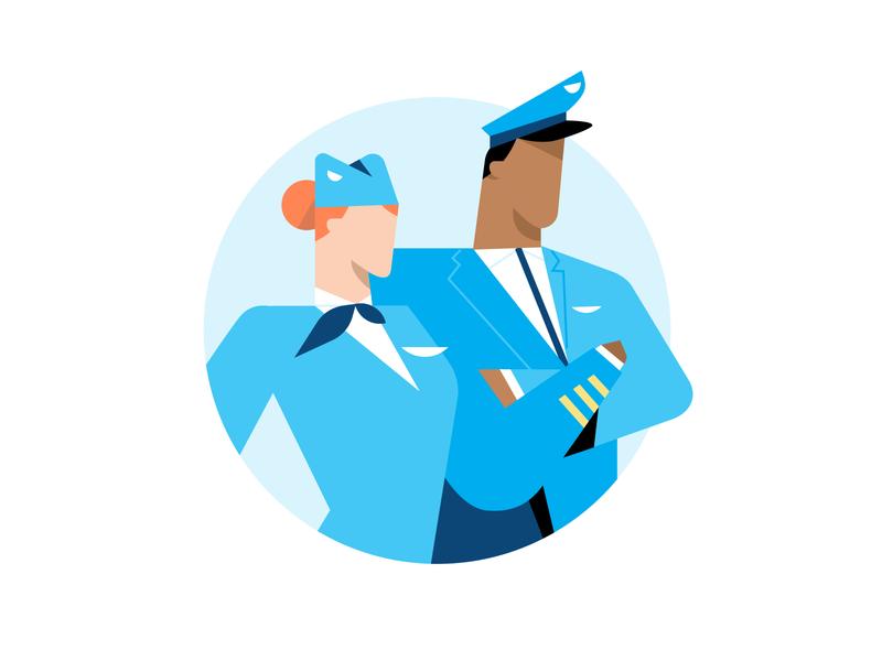 Crew travel airplanes illo flight color character blue crew airplane design illustration vector