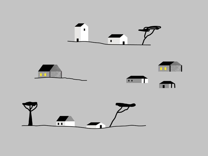 Liquidstar sketches liquidstar house tree village illo texture illustration color design vector animation