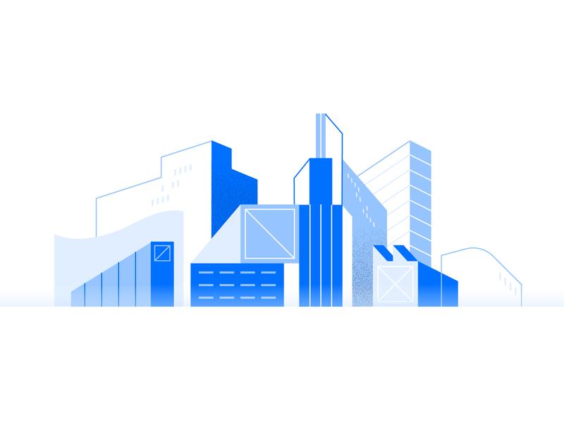 City blue texture shapes illo geometry flat skyscraper city design illustration
