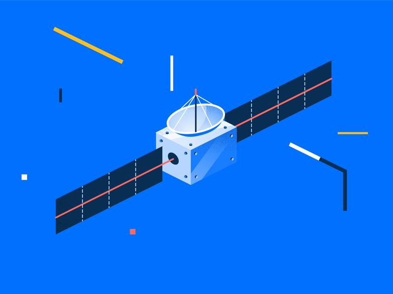 Sputnik sputnik cosmos satellite vector color illustration