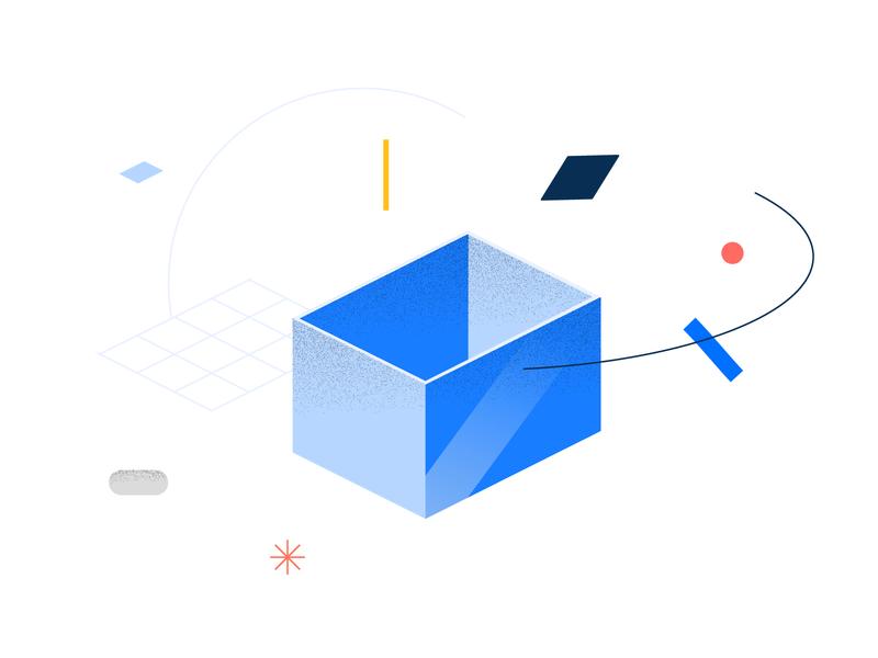 Bricsys geometry styleframe blue box isometric geometry texture design software illo color illustration vector bricsys